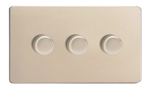 Varilight JDNDP303S Screwless Satin Chrome 3 Gang 2-Way Push On/Off LED Dimmer 0-120W V-Pro
